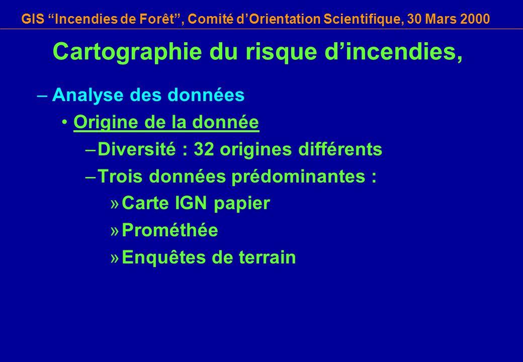 GIS Incendies de Forêt, Comité dOrientation Scientifique, 30 Mars 2000 Cartographie du risque dincendies, –Analyse des données Origine de la donnée –D