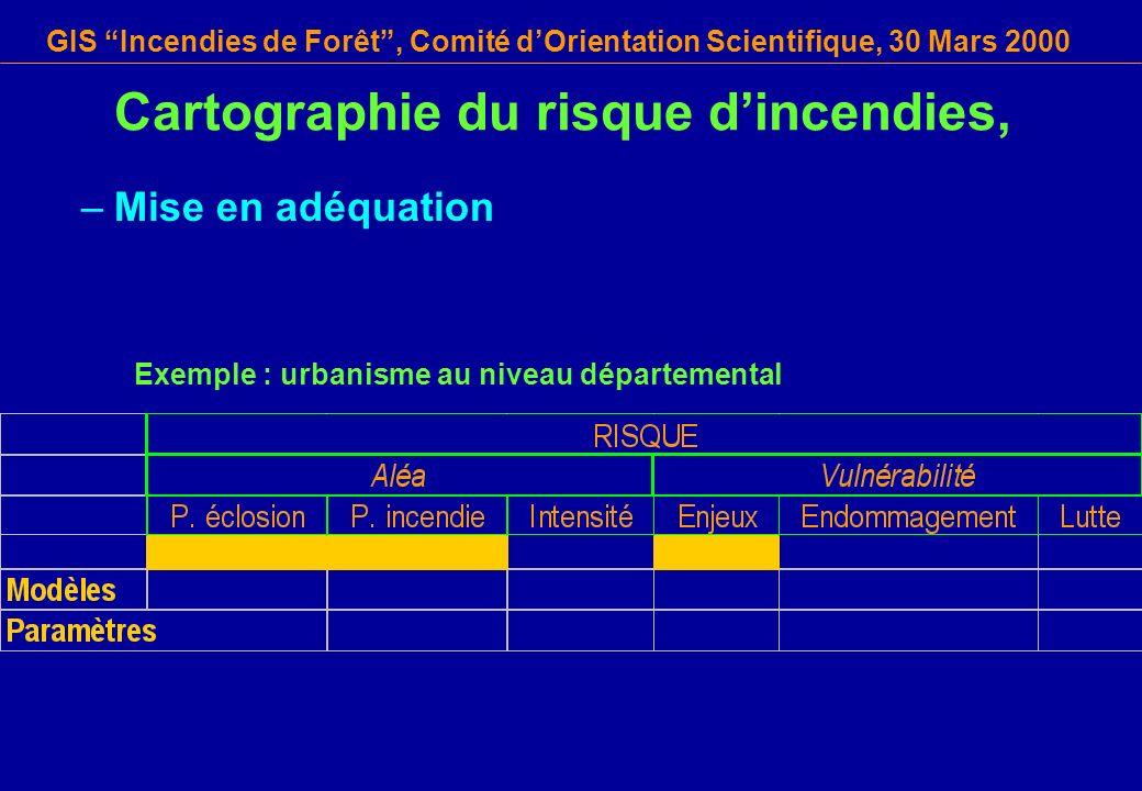 GIS Incendies de Forêt, Comité dOrientation Scientifique, 30 Mars 2000 Cartographie du risque dincendies, –Mise en adéquation Exemple : urbanisme au n