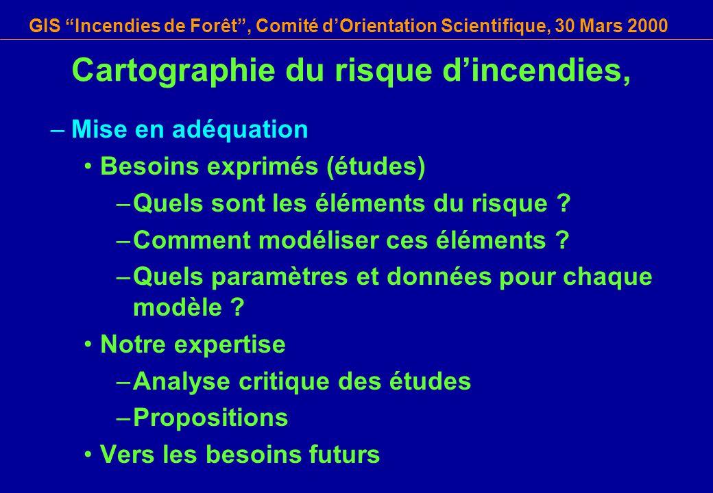 GIS Incendies de Forêt, Comité dOrientation Scientifique, 30 Mars 2000 Cartographie du risque dincendies, –Mise en adéquation Besoins exprimés (études