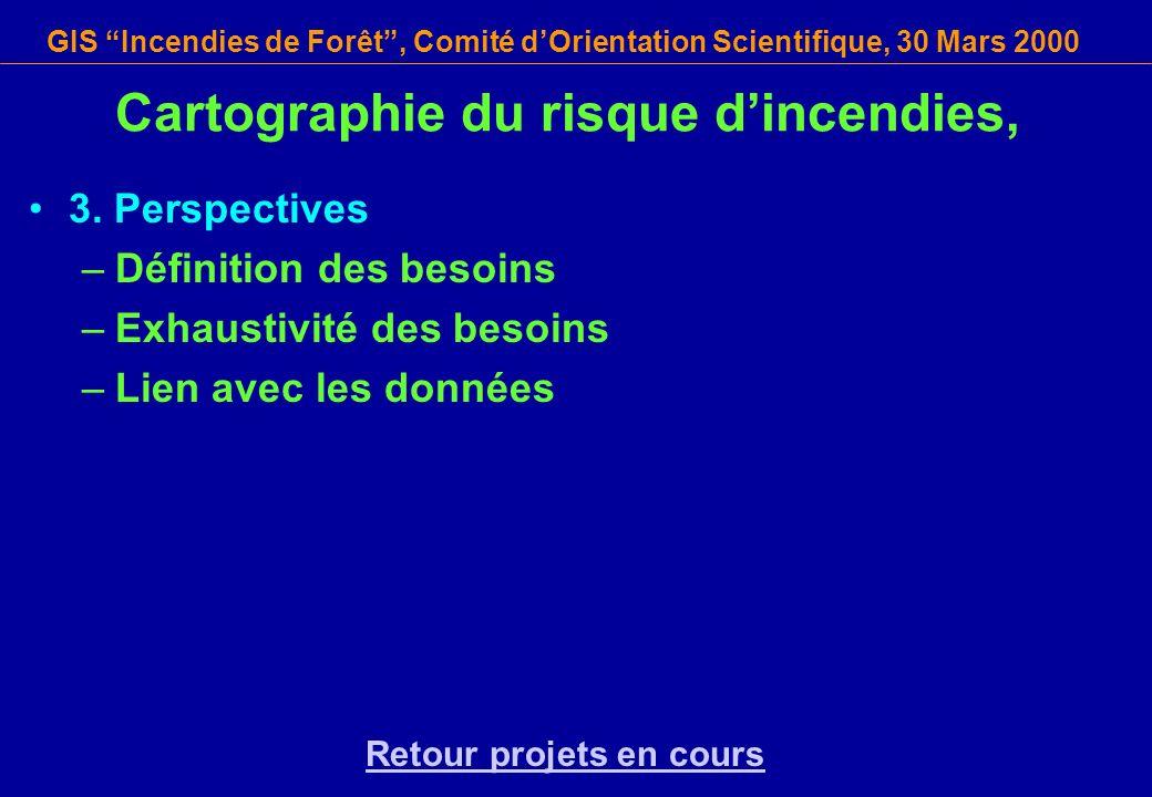 GIS Incendies de Forêt, Comité dOrientation Scientifique, 30 Mars 2000 Cartographie du risque dincendies, 3. Perspectives –Définition des besoins –Exh