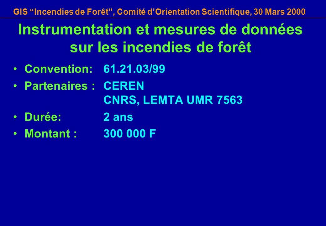 GIS Incendies de Forêt, Comité dOrientation Scientifique, 30 Mars 2000 Instrumentation et mesures de données sur les incendies de forêt Convention: 61