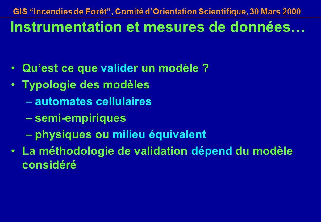 GIS Incendies de Forêt, Comité dOrientation Scientifique, 30 Mars 2000 Instrumentation et mesures de données… Quest ce que valider un modèle ? Typolog