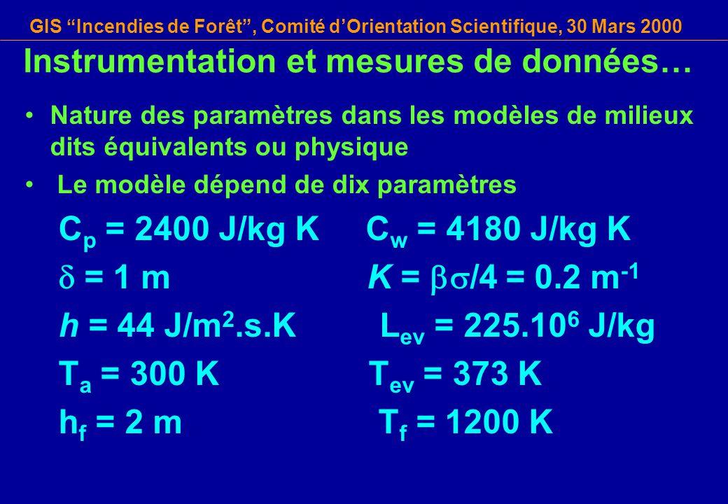GIS Incendies de Forêt, Comité dOrientation Scientifique, 30 Mars 2000 Instrumentation et mesures de données… Nature des paramètres dans les modèles d