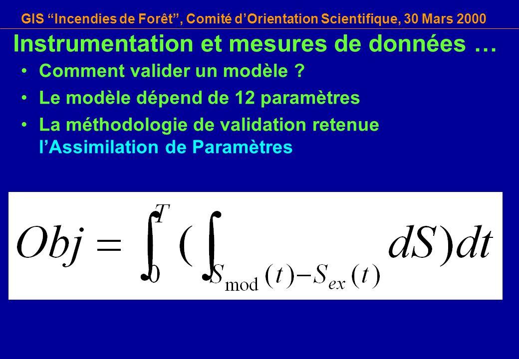 GIS Incendies de Forêt, Comité dOrientation Scientifique, 30 Mars 2000 Instrumentation et mesures de données … Comment valider un modèle ? Le modèle d