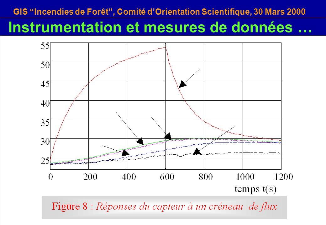 GIS Incendies de Forêt, Comité dOrientation Scientifique, 30 Mars 2000 Instrumentation et mesures de données …
