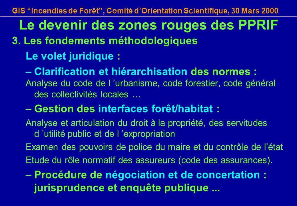 GIS Incendies de Forêt, Comité dOrientation Scientifique, 30 Mars 2000 3. Les fondements méthodologiques Le volet juridique : –Clarification et hiérar