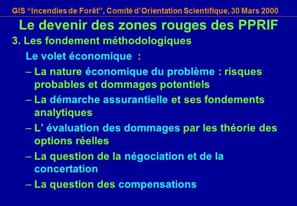 GIS Incendies de Forêt, Comité dOrientation Scientifique, 30 Mars 2000 3. Les fondement méthodologiques Le volet économique : –La nature économique du