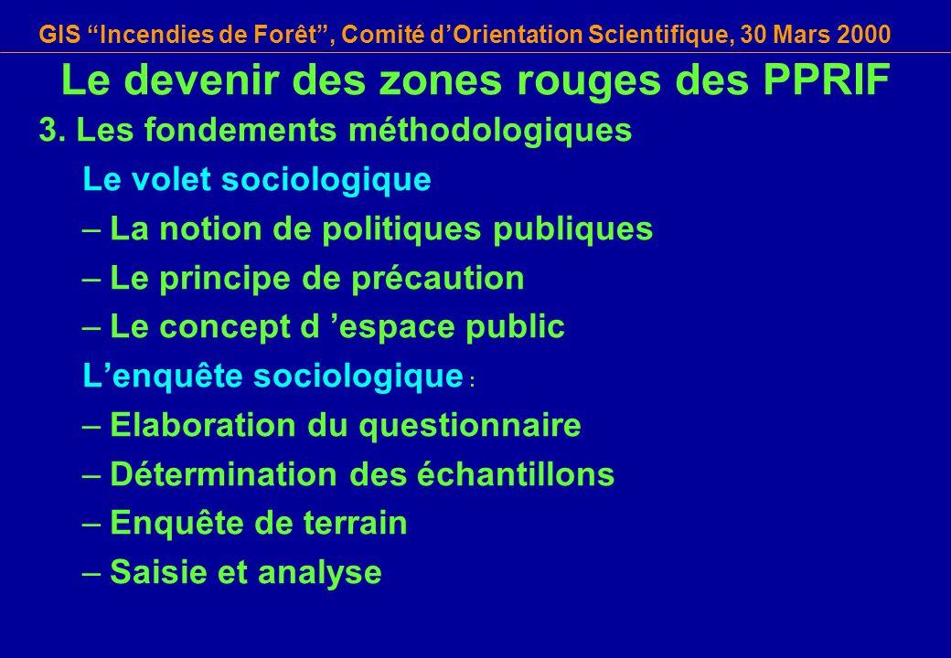GIS Incendies de Forêt, Comité dOrientation Scientifique, 30 Mars 2000 3. Les fondements méthodologiques Le volet sociologique –La notion de politique