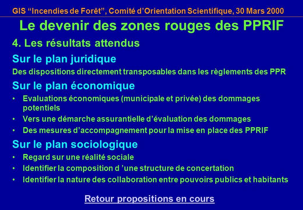 GIS Incendies de Forêt, Comité dOrientation Scientifique, 30 Mars 2000 4. Les résultats attendus Sur le plan juridique Des dispositions directement tr