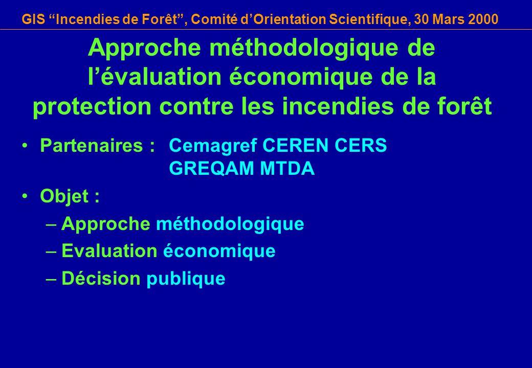 GIS Incendies de Forêt, Comité dOrientation Scientifique, 30 Mars 2000 Approche méthodologique de lévaluation économique de la protection contre les i