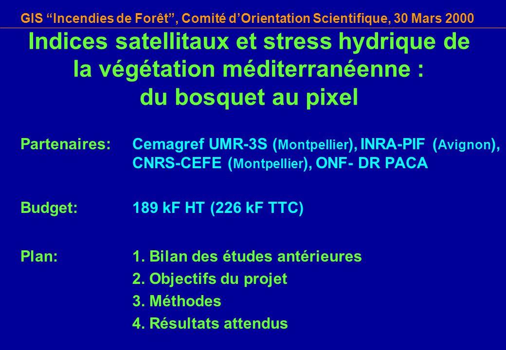 GIS Incendies de Forêt, Comité dOrientation Scientifique, 30 Mars 2000 Indices satellitaux et stress hydrique de la végétation méditerranéenne : du bo