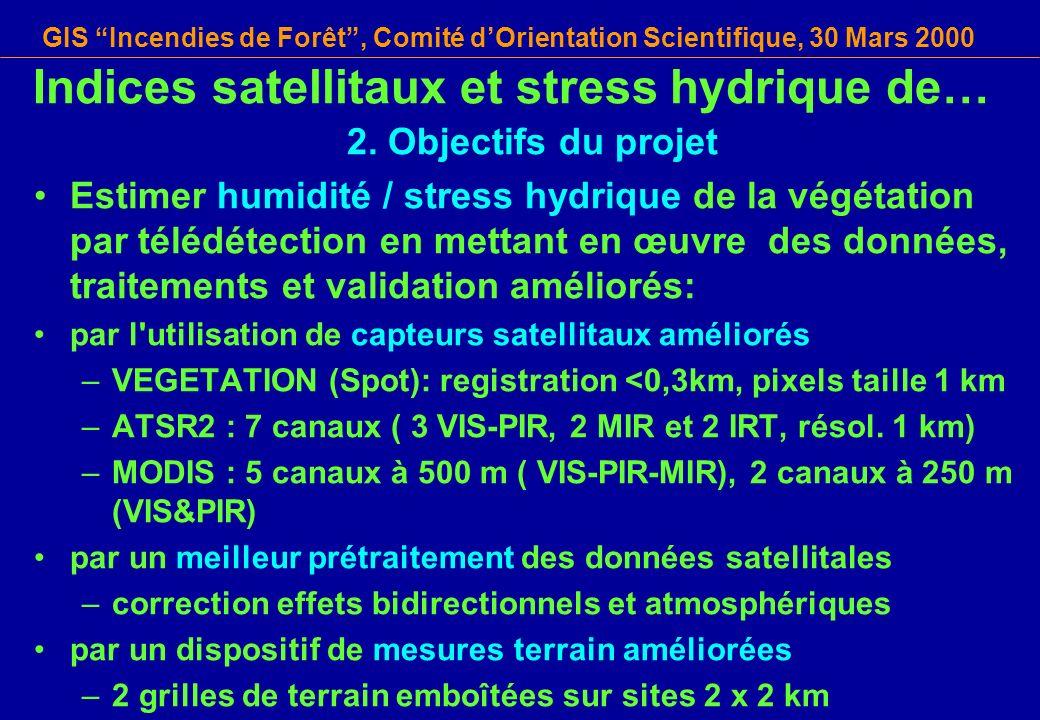GIS Incendies de Forêt, Comité dOrientation Scientifique, 30 Mars 2000 Indices satellitaux et stress hydrique de… 2. Objectifs du projet Estimer humid