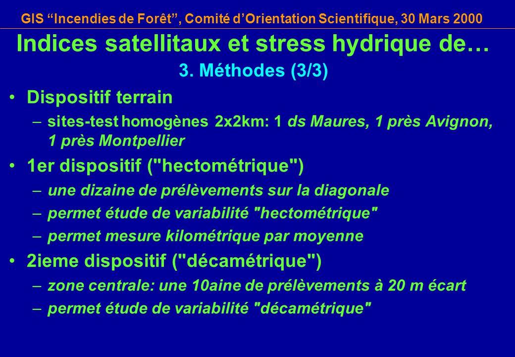 GIS Incendies de Forêt, Comité dOrientation Scientifique, 30 Mars 2000 Indices satellitaux et stress hydrique de… 3. Méthodes (3/3) Dispositif terrain