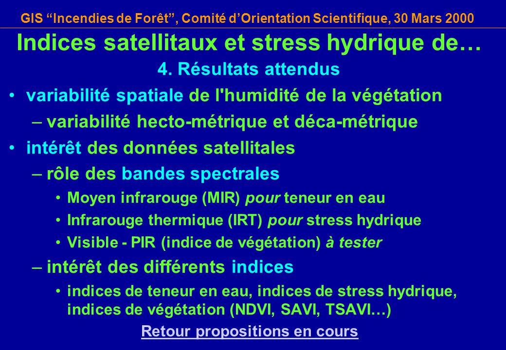 GIS Incendies de Forêt, Comité dOrientation Scientifique, 30 Mars 2000 Indices satellitaux et stress hydrique de… 4. Résultats attendus variabilité sp