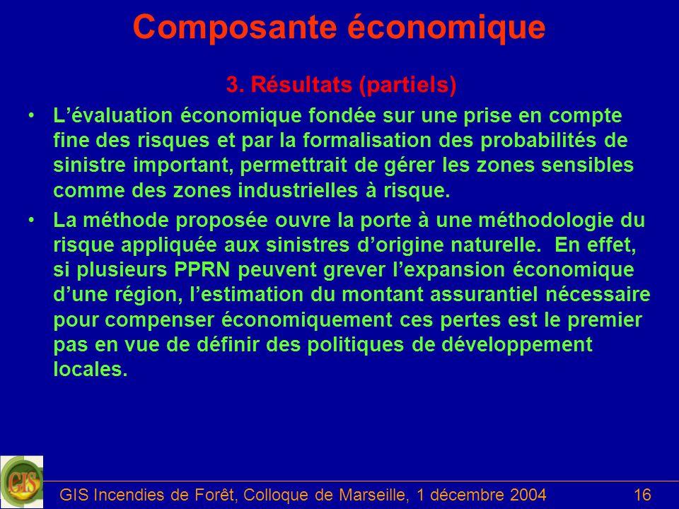 GIS Incendies de Forêt, Colloque de Marseille, 1 décembre 200416 Composante économique 3. Résultats (partiels) Lévaluation économique fondée sur une p