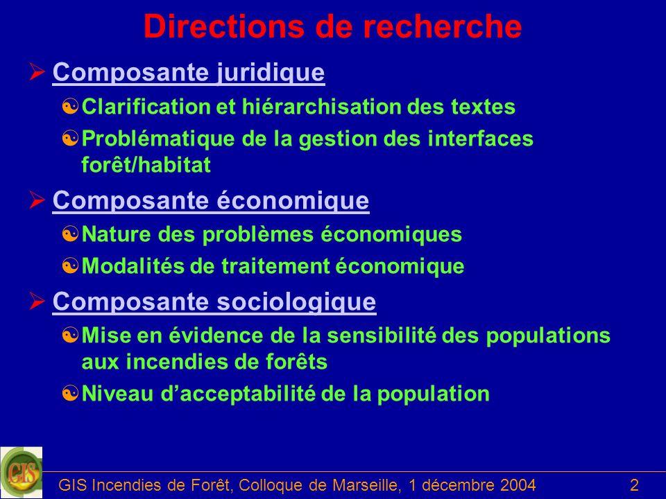 GIS Incendies de Forêt, Colloque de Marseille, 1 décembre 20042 Directions de recherche ØComposante juridiqueComposante juridique [Clarification et hi