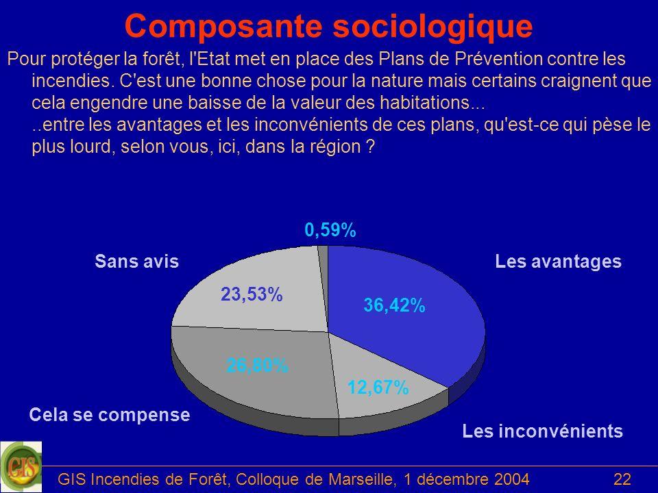 GIS Incendies de Forêt, Colloque de Marseille, 1 décembre 200422 Les avantagesSans avis Cela se compense Les inconvénients 36,42% 26,80% 23,53% 12,67%