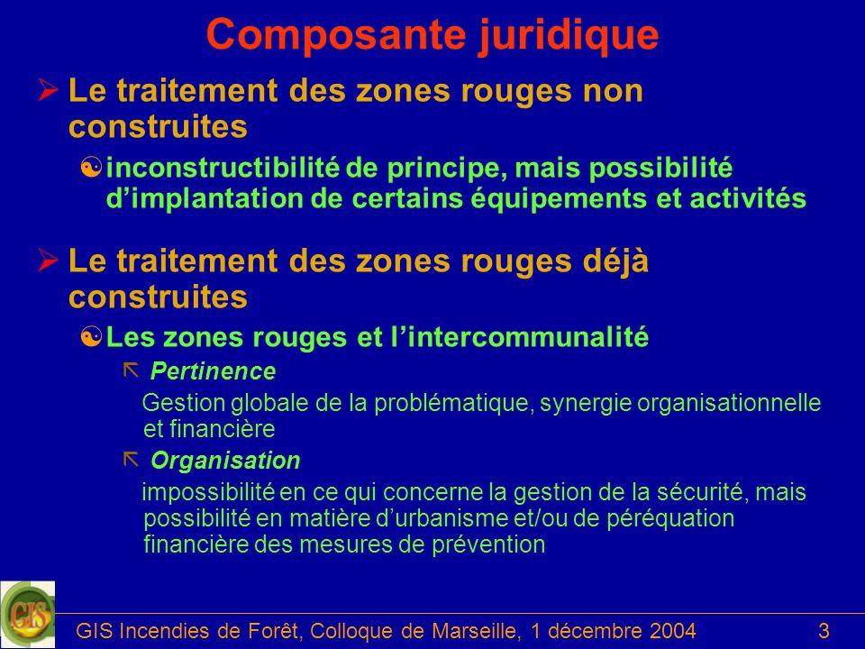 GIS Incendies de Forêt, Colloque de Marseille, 1 décembre 20043 Composante juridique ØLe traitement des zones rouges non construites [inconstructibili