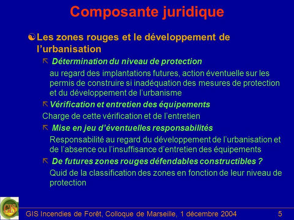 GIS Incendies de Forêt, Colloque de Marseille, 1 décembre 20045 Composante juridique [Les zones rouges et le développement de lurbanisation ã Détermin