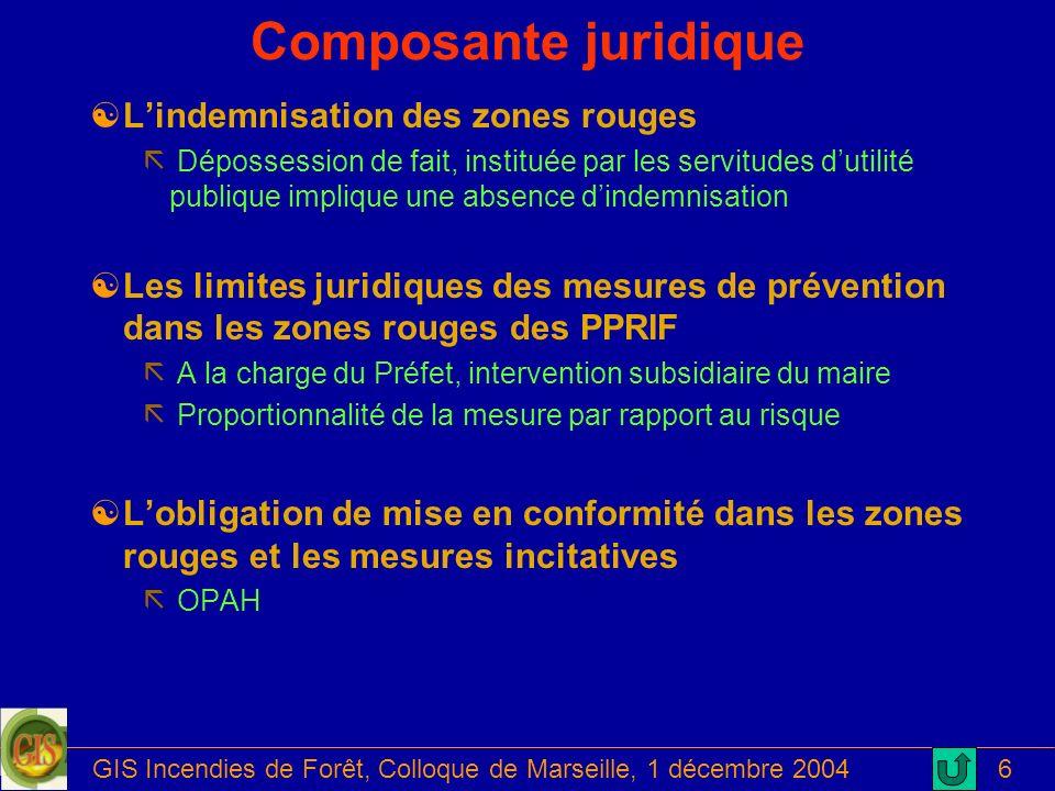 GIS Incendies de Forêt, Colloque de Marseille, 1 décembre 20046 Composante juridique [Lindemnisation des zones rouges ã Dépossession de fait, institué