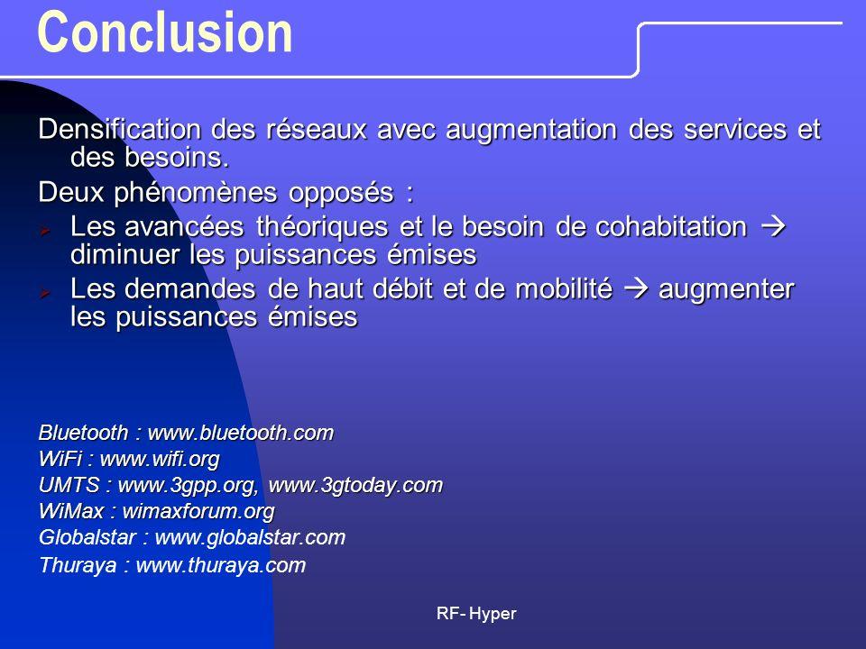 RF- Hyper Conclusion Densification des réseaux avec augmentation des services et des besoins. Deux phénomènes opposés : Les avancées théoriques et le