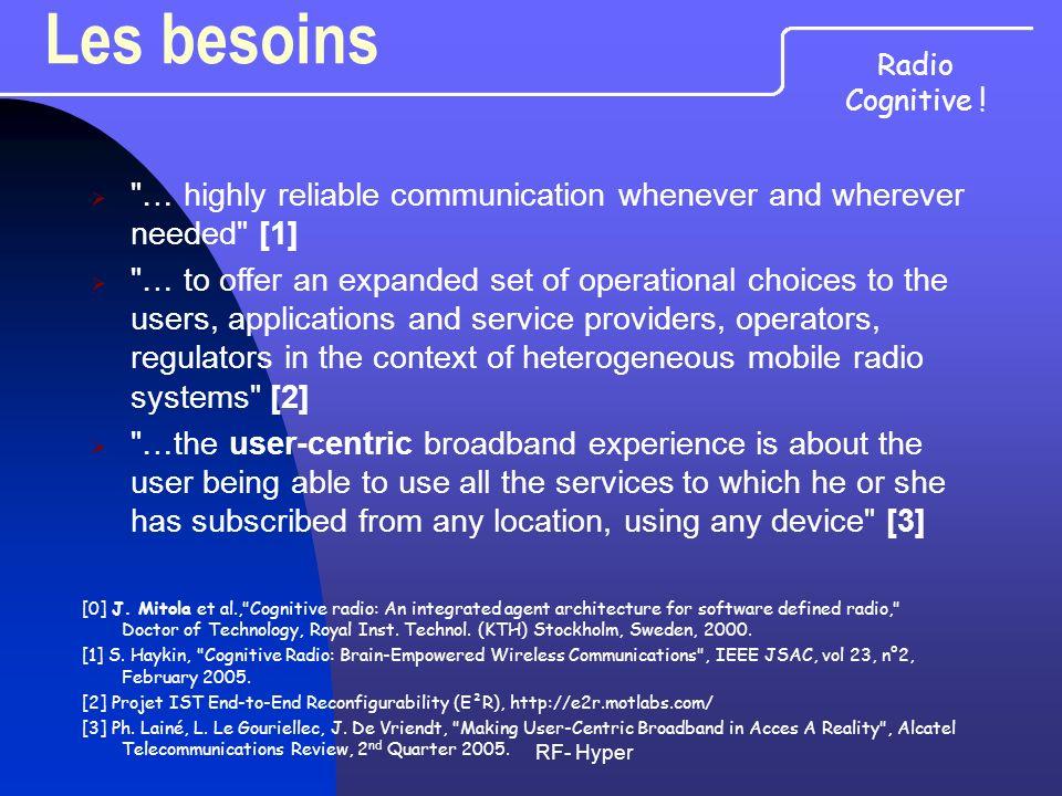 RF- Hyper Les évolutions Densification des réseaux Densification des réseaux Amélioration du codage et du contrôle de puissance Amélioration du codage et du contrôle de puissance Généralisation des approches MIMO Généralisation des approches MIMO OFDM généralisée OFDM généralisée