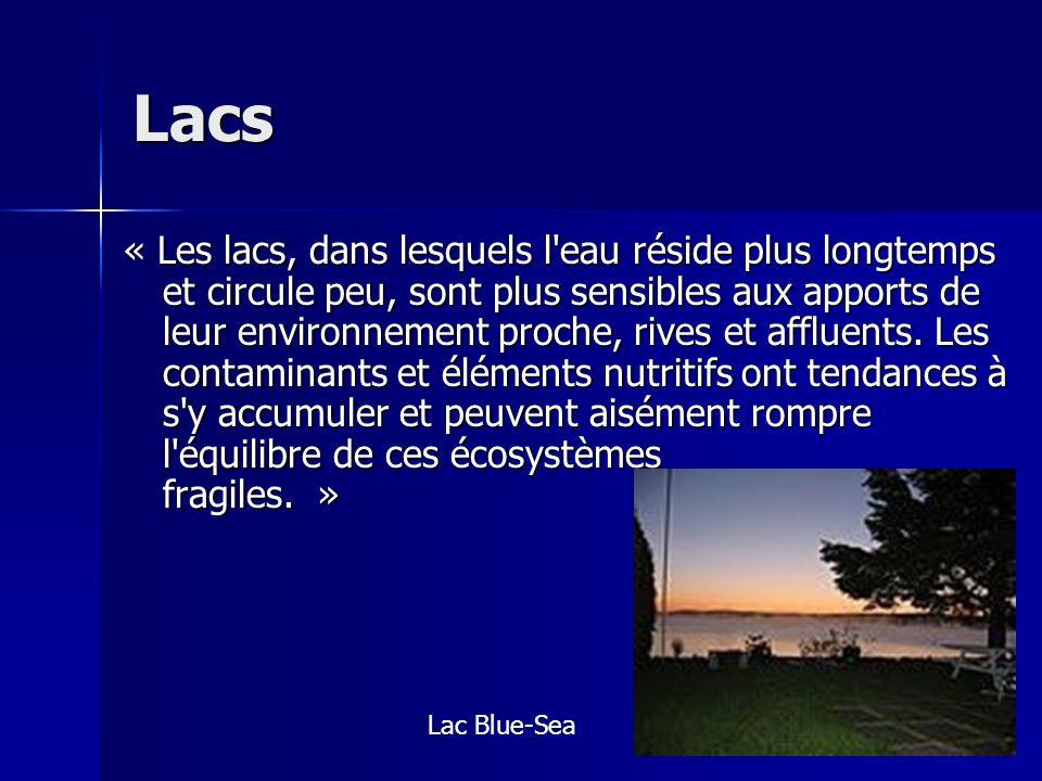 Lacs « Les lacs, dans lesquels l'eau réside plus longtemps et circule peu, sont plus sensibles aux apports de leur environnement proche, rives et affl