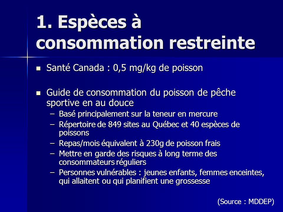 1. Espèces à consommation restreinte Santé Canada : 0,5 mg/kg de poisson Santé Canada : 0,5 mg/kg de poisson Guide de consommation du poisson de pêche