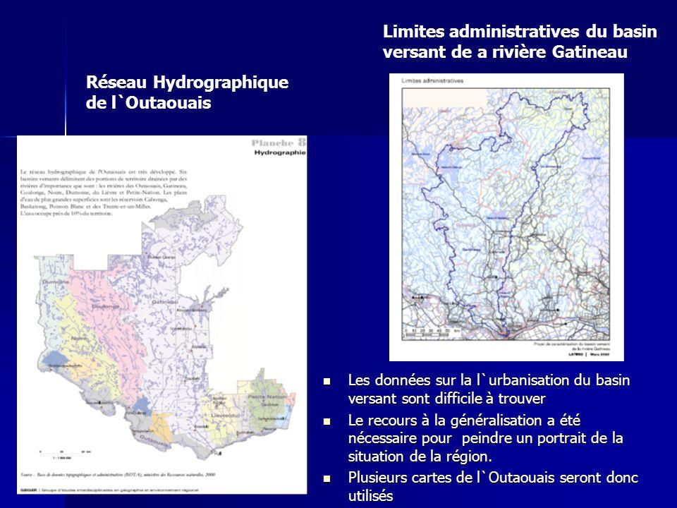 Réseau Hydrographique de l`Outaouais Limites administratives du basin versant de a rivière Gatineau Les données sur la l`urbanisation du basin versant