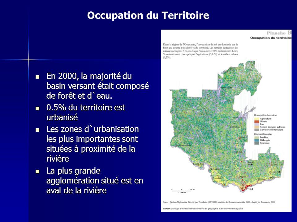 Occupation du Territoire En 2000, la majorité du basin versant était composé de forêt et d`eau. En 2000, la majorité du basin versant était composé de
