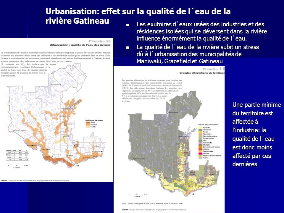 Urbanisation: effet sur la qualité de l`eau de la rivière Gatineau Les exutoires d`eaux usées des industries et des résidences isolées qui se déversen