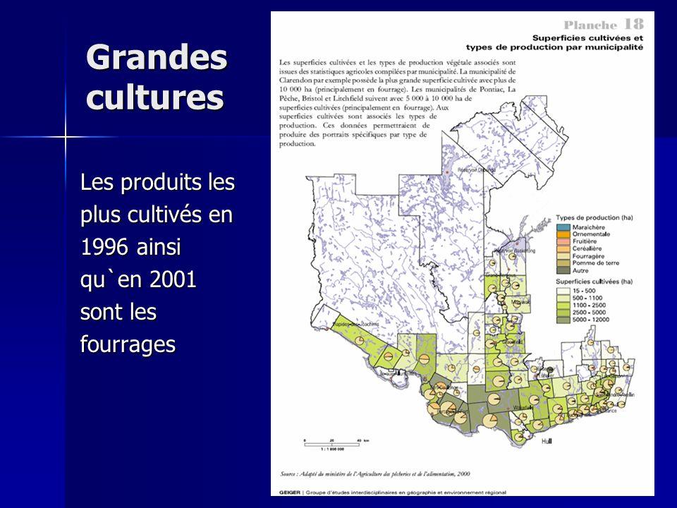 Grandes cultures Les produits les plus cultivés en 1996 ainsi qu`en 2001 sont les fourrages