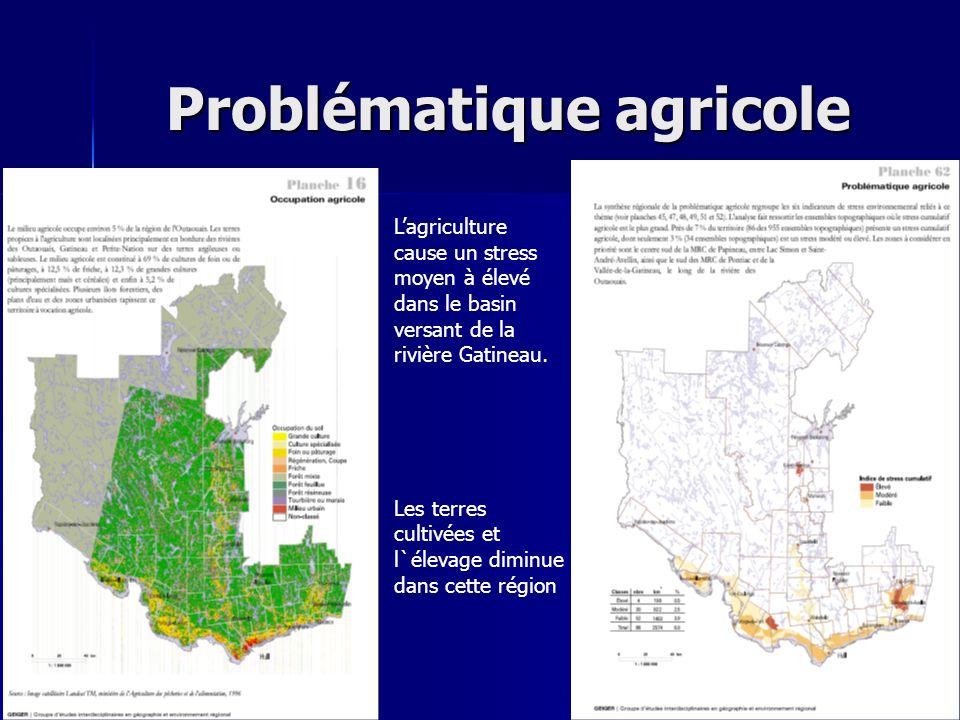 Problématique agricole Lagriculture cause un stress moyen à élevé dans le basin versant de la rivière Gatineau. Les terres cultivées et l`élevage dimi