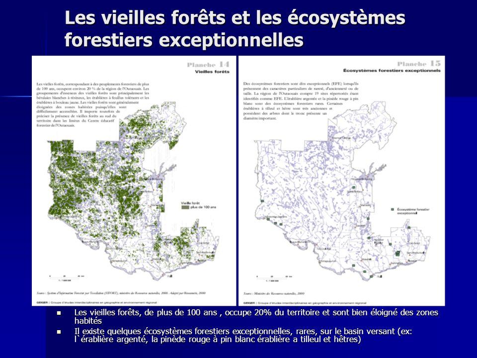 Les vieilles forêts et les écosystèmes forestiers exceptionnelles Les vieilles forêts, de plus de 100 ans, occupe 20% du territoire et sont bien éloig