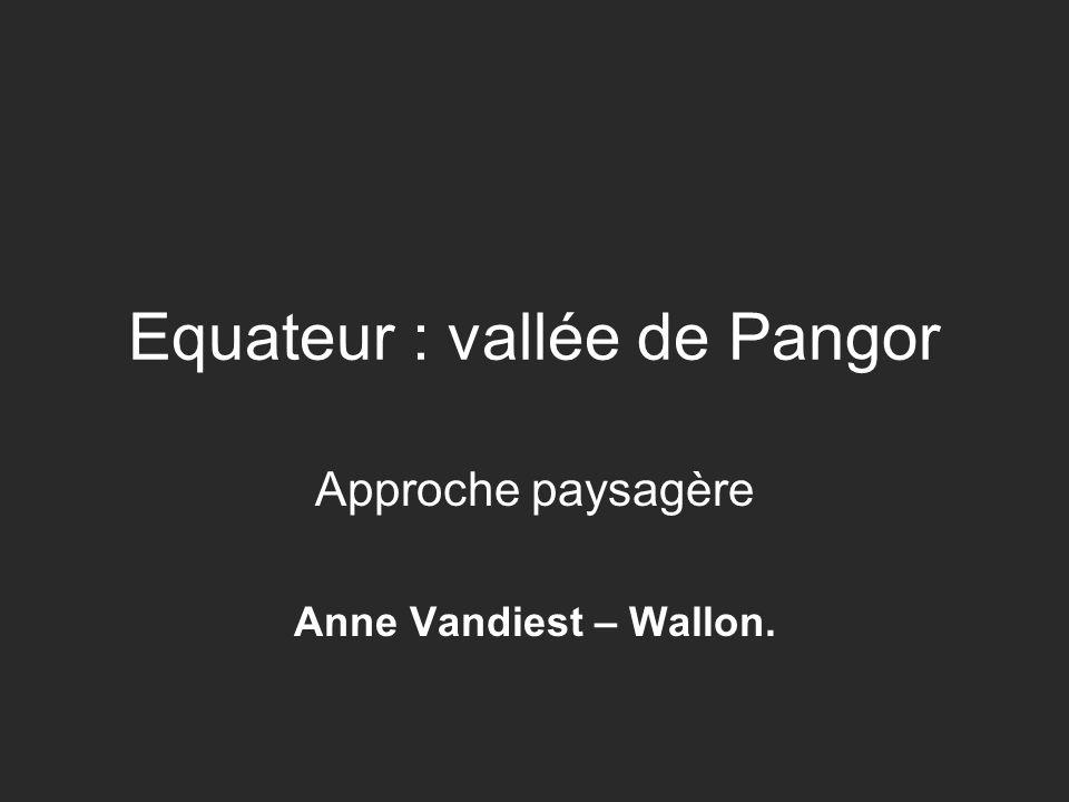 Equateur : vallée de Pangor Approche paysagère Anne Vandiest – Wallon.
