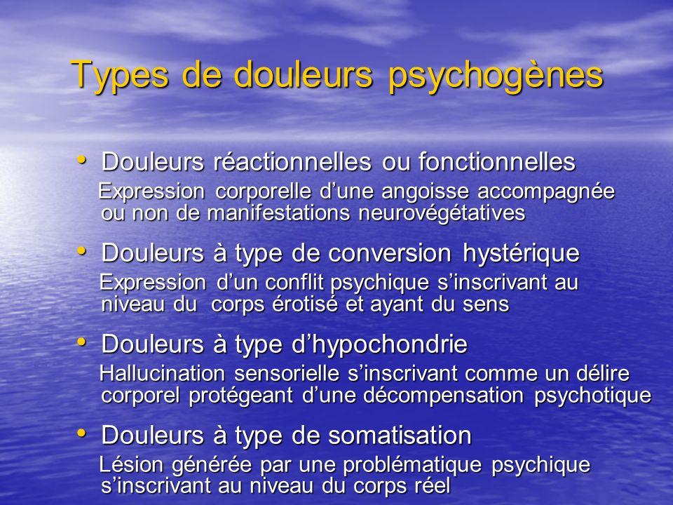 Types de douleurs psychogènes Douleurs réactionnelles ou fonctionnelles Douleurs réactionnelles ou fonctionnelles Expression corporelle dune angoisse