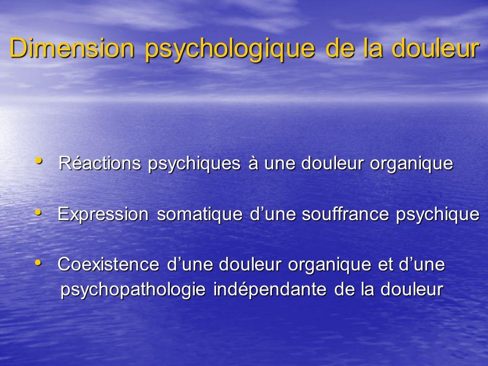 Dimension psychologique de la douleur Réactions psychiques à une douleur organique Réactions psychiques à une douleur organique Expression somatique d
