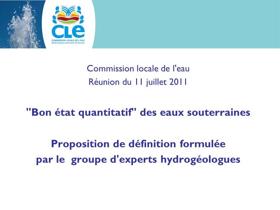 le bon état des eaux souterraines La directive cadre européenne établissant une cadre pour une politique communautaire dans le domaine de l eau, dite directive cadre sur l eau fixe l objectif d atteindre le bon état des eaux, notamment souterraines.