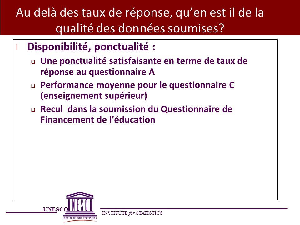UNESCO INSTITUTE for STATISTICS Au delà des taux de réponse, quen est il de la qualité des données soumises? l Disponibilité, ponctualité : Une ponctu