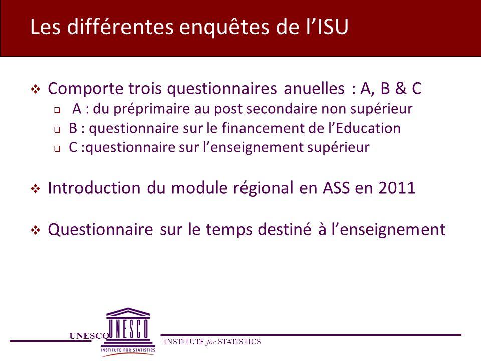 UNESCO INSTITUTE for STATISTICS Les différentes enquêtes de lISU Comporte trois questionnaires anuelles : A, B & C A : du préprimaire au post secondai