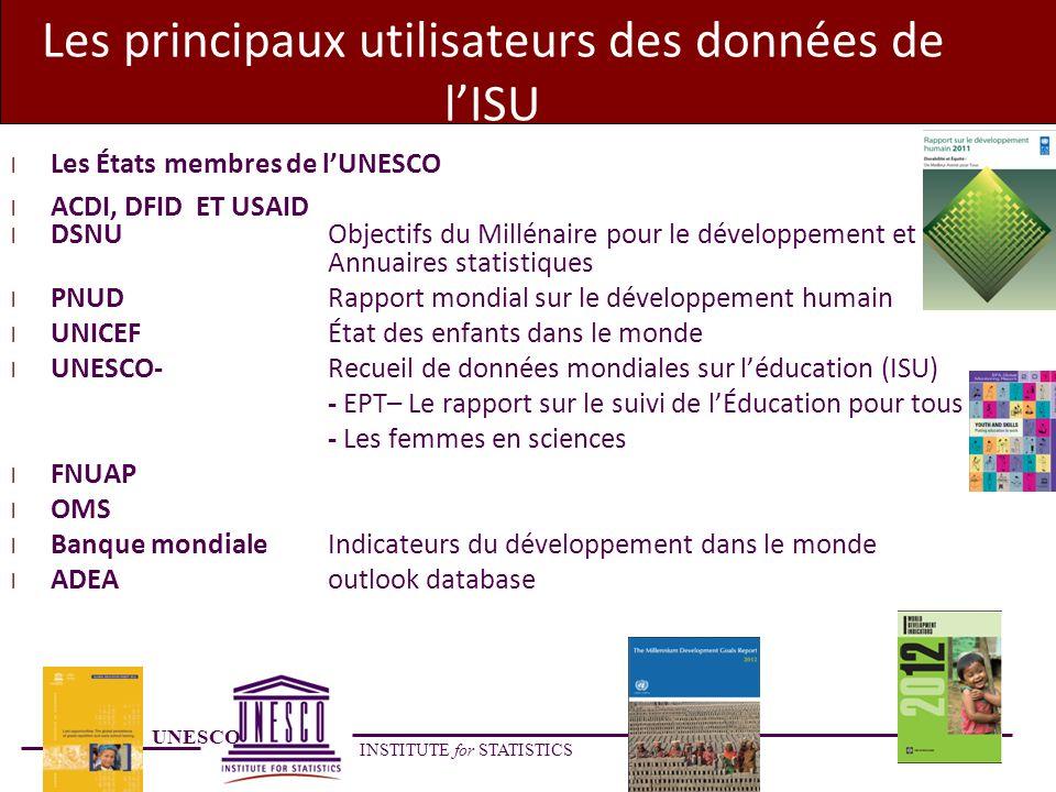UNESCO INSTITUTE for STATISTICS Les principaux utilisateurs des données de lISU l Les États membres de lUNESCO l ACDI, DFID ET USAID l DSNU Objectifs