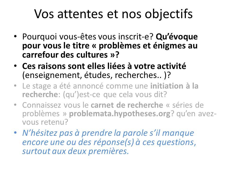 Le projet « les séries de problèmes, un genre au carrefour des cultures » OBJET GENERIQUE: toute collection de questions – réponses qui semble suivre un ordre, constituer une série.
