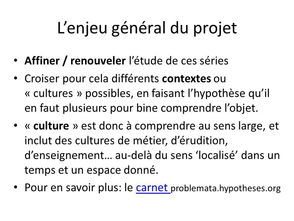 Lenjeu général du projet Affiner / renouveler létude de ces séries Croiser pour cela différents contextes ou « cultures » possibles, en faisant lhypothèse quil en faut plusieurs pour bine comprendre lobjet.