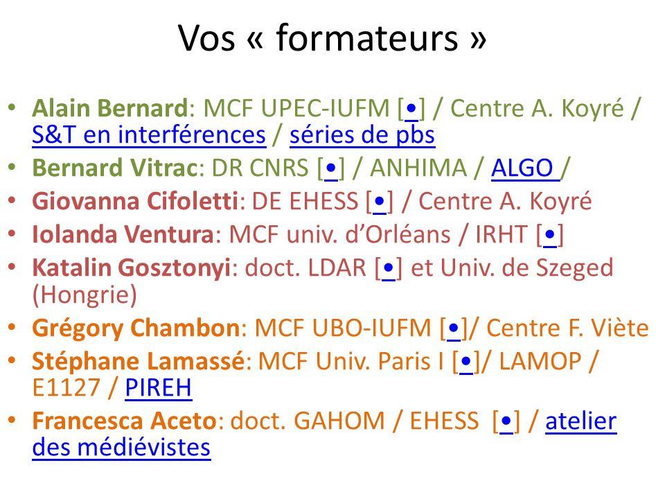 Vos « formateurs » Alain Bernard: MCF UPEC-IUFM [] / Centre A.