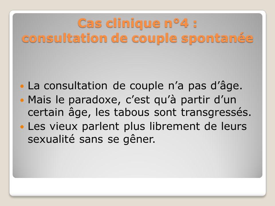 Cas clinique n°4 : Consultation de couple spontanée Mr. B, ex vendeur en pharmacie âgé de 80 ans et Mme âgée de 72 ans consulte pour DE. Et lépouse pr