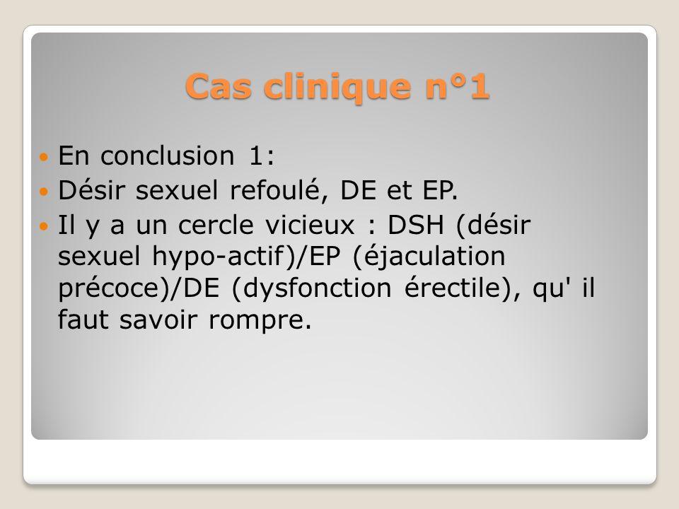 Cas clinique n°1 En conclusion 1: Désir sexuel refoulé, DE et EP.