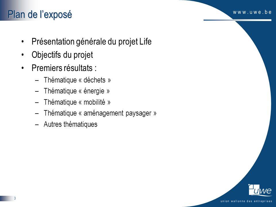 3 Plan de lexposé Présentation générale du projet Life Objectifs du projet Premiers résultats : –Thématique « déchets » –Thématique « énergie » –Thématique « mobilité » –Thématique « aménagement paysager » –Autres thématiques