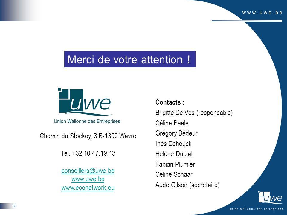 30 Contacts : Brigitte De Vos (responsable) Céline Baële Grégory Bédeur Inès Dehouck Hélène Duplat Fabian Plumier Céline Schaar Aude Gilson (secrétaire) Chemin du Stockoy, 3 B-1300 Wavre Tél.