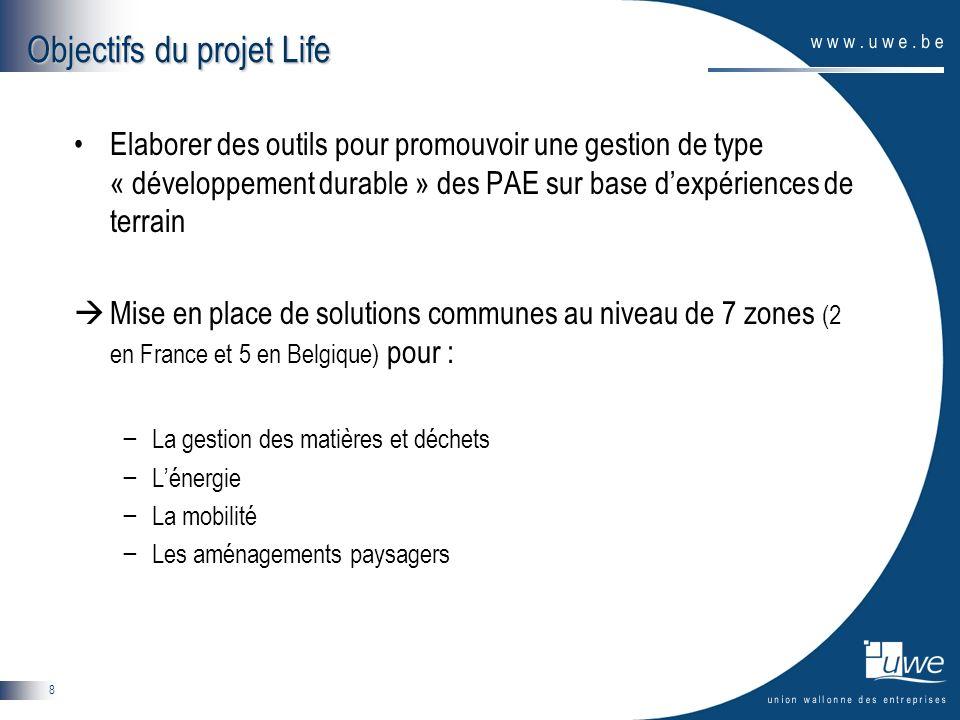 8 Objectifs du projet Life Elaborer des outils pour promouvoir une gestion de type « développement durable » des PAE sur base dexpériences de terrain Mise en place de solutions communes au niveau de 7 zones (2 en France et 5 en Belgique) pour : La gestion des matières et déchets Lénergie La mobilité Les aménagements paysagers