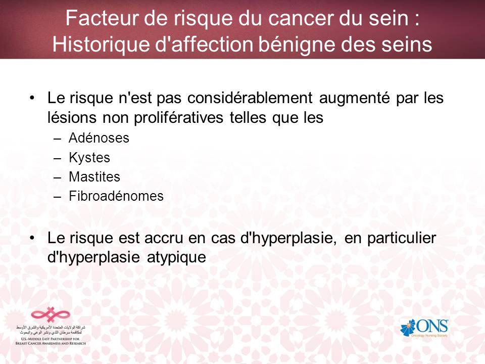 Facteur de risque du cancer du sein : Historique d'affection bénigne des seins Le risque n'est pas considérablement augmenté par les lésions non proli